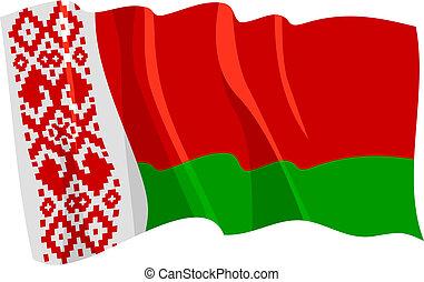 Political waving flag of Belarus