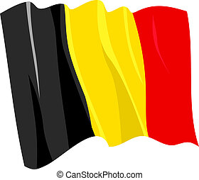 Political waving flag of Belgium