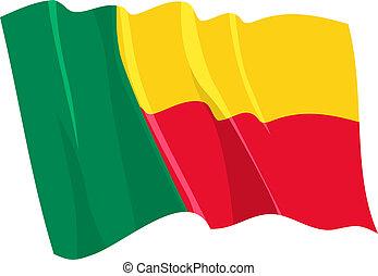 Political waving flag of Benin