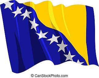Political waving flag of Bosnia and Herzegovina