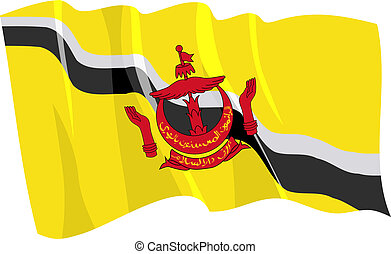 Political waving flag of Brunei