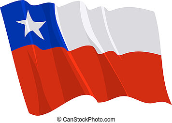 Political waving flag of Chile