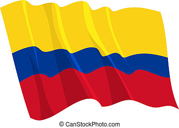 Political waving flag of Colombia