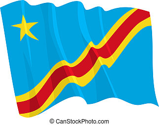 Political waving flag of Congo