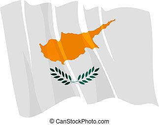 Political waving flag of Cyprus