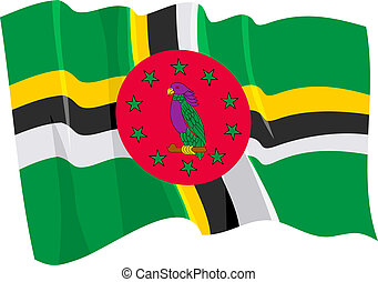 Political waving flag of Dominica