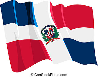 Political waving flag of Dominican Republic