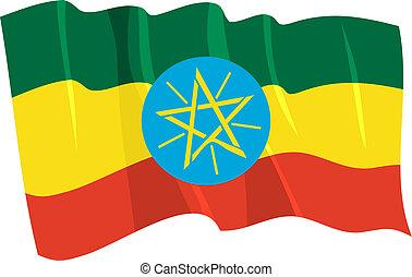 Political waving flag of Ethiopia