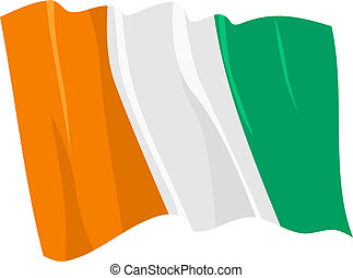 Political waving flag of Ivory Coast