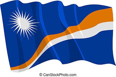 Political waving flag of Marshall Islands
