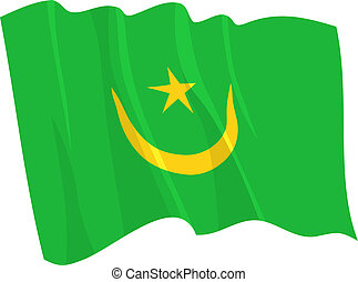 Political waving flag of Mauritania