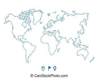 Political world blue map and contour illustration.
