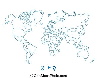 Political world blue map and vector illustration.