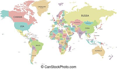 World map country border outline on white background with country political world map vector illustration isolated on white background with country names in english gumiabroncs Images