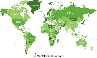 Political World Map vector illustration with different tones of green for each country and country names in spanish. Editable and clearly labeled layers.
