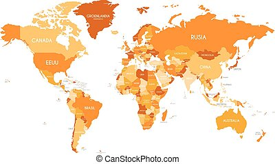 Political World Map vector illustration with different tones of orange for each country and country names in spanish. Editable and clearly labeled layers.