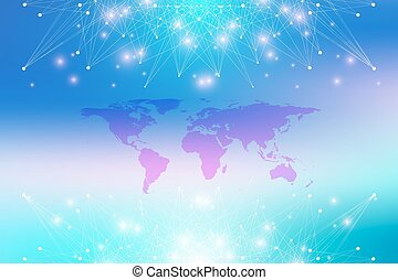 Political World Map with global technology networking concept. Digital data visualization. Lines plexus. Big Data background communication. Scientific vector illustration.
