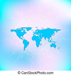 Political World Map with global technology networking concept. Digital data visualization. Scientific cybernetic particle compounds. Big Data background communication. Vector illustration.