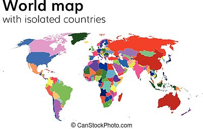 Beautiful vector illustration with multi colored earth continents political world map with isolated countries and continents multi colored map gumiabroncs Image collections