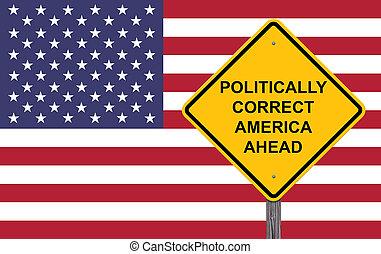 politically, devant, signe, avertissement, amérique, correct