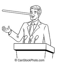 Politican with long nose lies coloring book vector