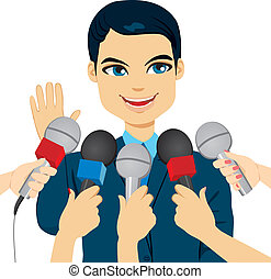 Male politician or businessman answering press questions in front of journalists holding microphones
