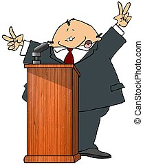 This illustration depicts a politician speaking at a podium.