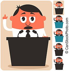 Politician - Cartoon of politician over white background in...