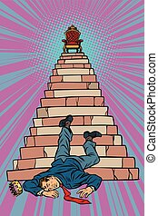 politician fell from the throne, overthrow dictator policy revolution. Pop art retro vector illustration kitsch vintage