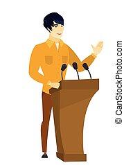 Politician giving a speech from tribune. - Politician...