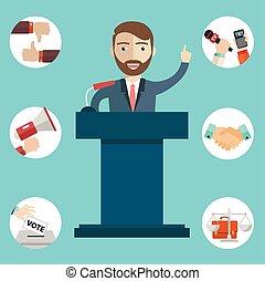 Politician man having a speech, politics icons
