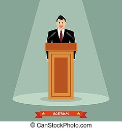 Politician man standing behind rostrum and giving a speech....