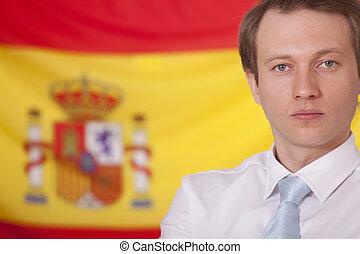politician over spanish flag