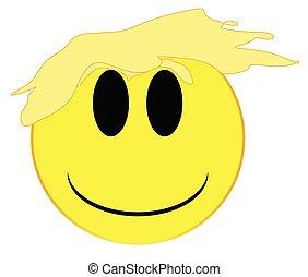 Politician Smiley Face Button Isolated