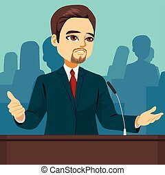 Politician Speaking Parliament - Male politician speaking at...