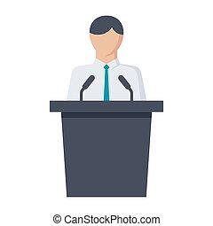 Politician Vector Icon - Political science concept with...