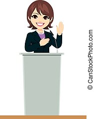 Politician Woman Podium Oath Promise