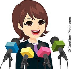 Politician Woman Press Conference - Beautiful young adult...