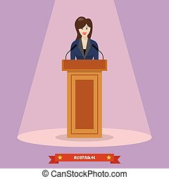 Politician woman standing behind rostrum and giving a speech