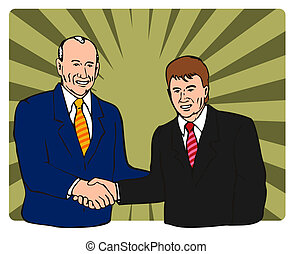 Politicians shaking hands - Artwork in people making a deal