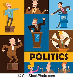 Politicians speaking banner vector illustration. Male and...