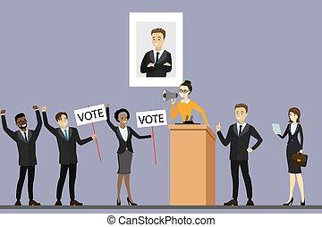 politicien, campagne, debout, tribune, candidat, élection