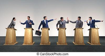 politiciens, participer, politique, débat