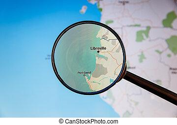 politico, gabon., map., libreville