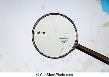 politico, khartoum, map., sudan.