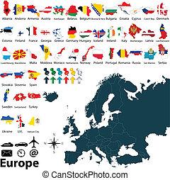 politico, mappa, di, europa