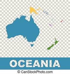politico, mappa, di, oceania., appartamento, vettore