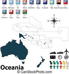 politico, mappa, di, oceania