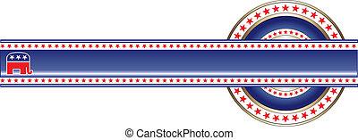 politico, repubblicano, bandiera, etichetta