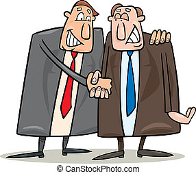 politics agreement - cartoon illustration of two politics...